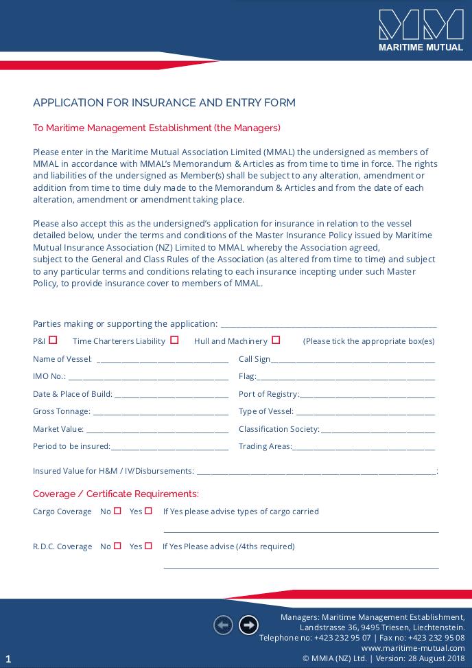 Application | Maritime Mutual