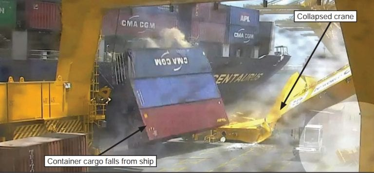 Container cargo falling from ship