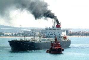 Black Smoke From Ship Funnel